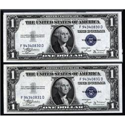 - Fr.1611. Silver Certificate, $1. 1935B Consecutive Pair.