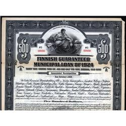 Finland - Finnish Guaranteed Municipal Loan of 1924 Specimen Bond.