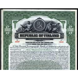Finland - Republic of Finland, 1923 Issue Specimen Bond.