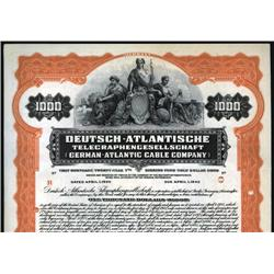 Germany - Deutsch-Atlantische Telegraphengesellschaft, 1925,  Specimen Bond.