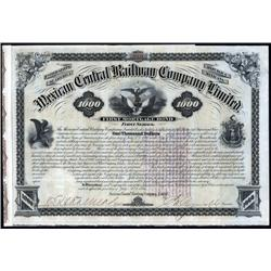 Mexico - Mexican Central Railway Company Limited, Issued and Uncancelled $1000 Bond.