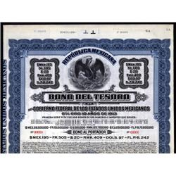 "Mexico - Republica Mexicana, Bono Del Tesoro, 1913 Series ""A"" Specimen Bond."