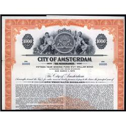 Netherlands - City of Amsterdam, 1958 Issue Specimen Bond.