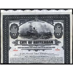 Netherlands - City of Rotterdam, 1924 Issue Specimen Bond.