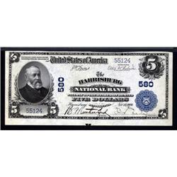 Pennsylvania - Harrisburg, PA, $5 1902 Plain Back, Ch.# 580.