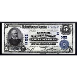 Pennsylvania - Philadelphia, PA, $5 1902 Plain Back, Ch.#592.