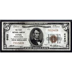 Pennsylvania - Etna, PA, $5 1929 Type 1, Ch.# 6453.