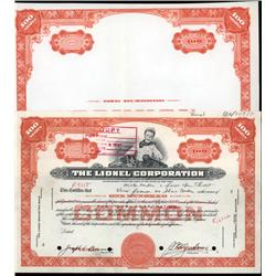 New York - Lionel Corp. Specimen Stock Cert. and Proof Border With Young Boy and Toy Trains.