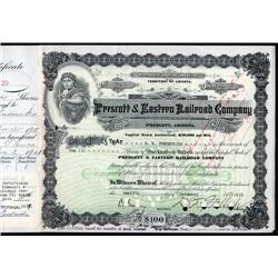 Arizona - Prescott & Eastern Railroad Company Stock Certificate.