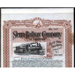California - Sierra Railway Co. of California Bond.