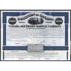 Canada - Canada Southern Railway Co. Specimen Bond.