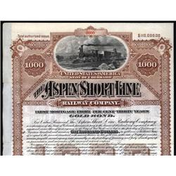 Colorado - Aspen Short Line Railway Company, Specimen Bond.