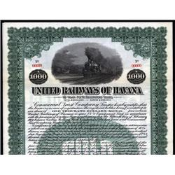 Cuba - United Railways of Havana Specimen Bond.