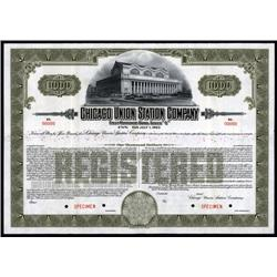 Illinois - Chicago Union Station Co. Specimen Bond.