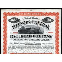 Illinois - Illinois Central Railroad Co. Specimen Bond.