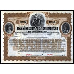 Iowa, Minnesota - Iowa, Minnesota and Northwestern Railway Co. Bond.