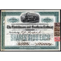 Kansas - Hutchinson and Southern Railway Co. Stock Certificate.