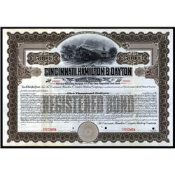 Ohio - Cincinnati, Hamilton and Dayton Railway Co., Specimen Bond.