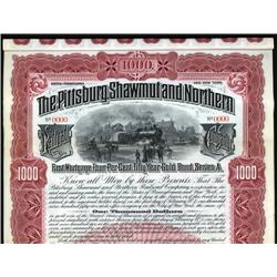 Pennsylvania - Pittsburg, Shawmut and Northern Railroad Company Specimen Bond.