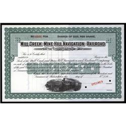 Pennsylvania - Mill Creek and Mine Hill Navigation and Railroad Co. Specimen Stock.