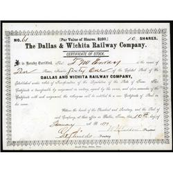 Texas - The Dallas & Wichita Railway Company Issued Stock Certificate.