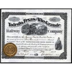Texas - Toledo, Texas and Rio Grande Railway Co. Stock Certificate.