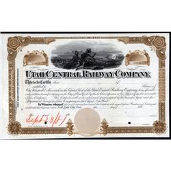 Utah - Utah Central Railway Company Approval Proof Stock and Mormon Related Railroad.