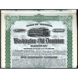 Virginia - Washington and Old Dominion Railway Bond.