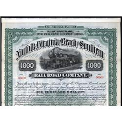 Virginia - Norfolk, Virginia Beach and Southern Railroad Company Specimen Bond.