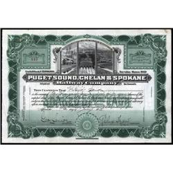 Washington - Puget Sound, Chelan & Spokane Railway Co. Stock Certificate.