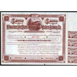 Wisconsin - Milwaukee, Lake Shore and Western Railway Company Specimen Bond.