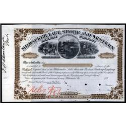Wisconsin - Milwaukee, Lake Shore and Western Railway Company Unique Approval Proof Stock.
