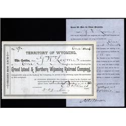 Wyoming - Grand Island & Northern Wyoming Railroad Co. Stock Certificate.