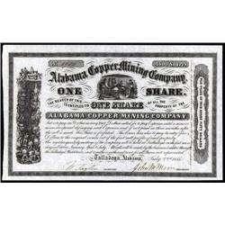 Alabama - Alabama Copper Mining Co. Stock Certificate.