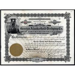 Alaska - Grecian Alaska Gold Dredging Company Stock Certificate.