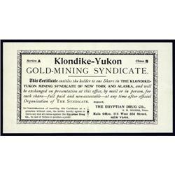 Alaska - Klondike=Yukon Gold Mining Syndicate Stock Certificate.
