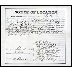 Alaska - Territory of Alaska, Notice of Location For Mining Claim.