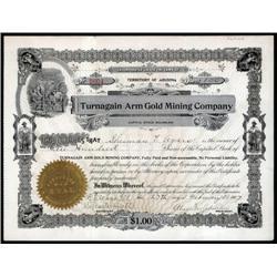 Alaska - Turnagain Arm Gold Mining Co. Alaska Mine Stock Certificate.