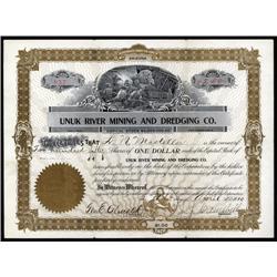 Alaska - Unuk River Mining And Dredging Co. Stock Certificate.