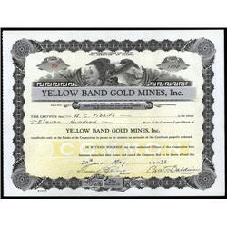 Alaska - Yellow Band Gold Mines, Inc., Alaska Stock Certificate.