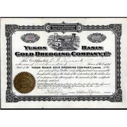 Alaska - Yukon Basin Gold Dredging Co., Ltd. Alaska Stock Certificate.