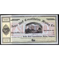 California - Bodie Bluff Consolidation Mining Co. Stock Certificate With Leland Stanford Autograph.