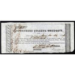 California - Enterprise Quartz Company, 1851 California Gold Rush Mining Stock Certificate.