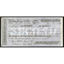 """California - Wells Fargo, 1856, 2nd of Exchange from """"Rough & Ready, California""""."""