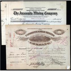 Colorado - Anaconda Mining & Favorite Gold Mining Stock Certificate Pair.