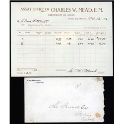 Montana - Assay Office of Charles W.Mead, Certificate of Assay.