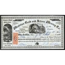 Nevada Territory - Malvina Gold & Silver Mining Co., Nevada Territory.
