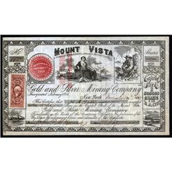Nevada - Mount Vista Gold and Silver Mining Co. Stock Certificate.