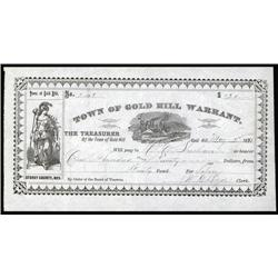 Nevada - Town of Gold Hill Warrant or Bearer Scrip Note, Nevada.