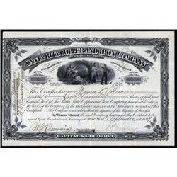 New Mexico - Santa Rita Copper and Iron Co., 1889 New Mexico Mining Stock.